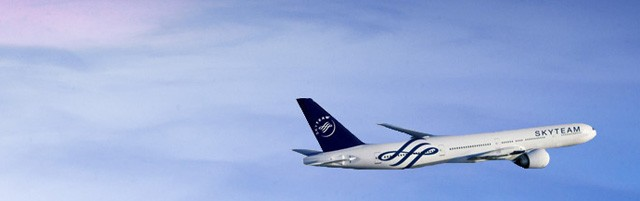 Skyteam aircraft flying