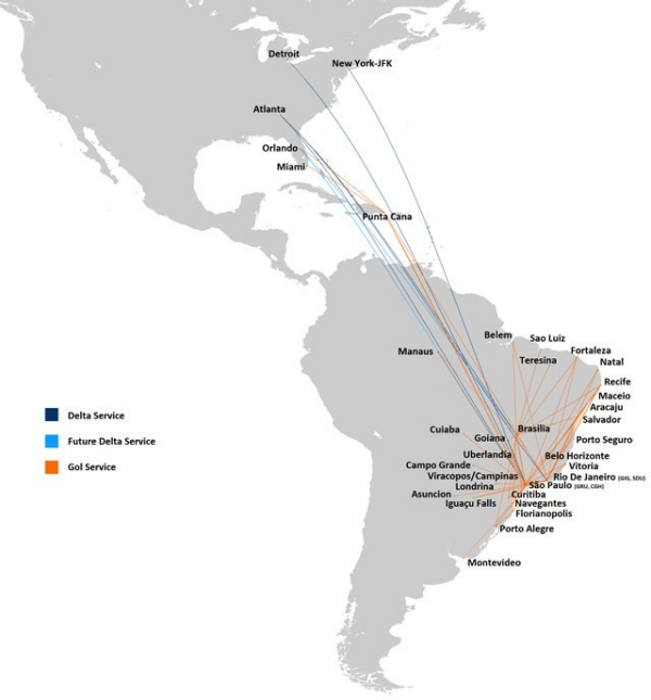 Delta and GOL Network Map