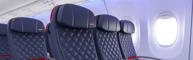 Render of the new seat design for Delta Comfort+ on a Boeing 737-900ER (739).